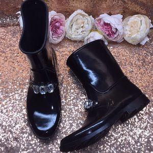 Michael Kors Black Rhinestone Rain Boots 10M